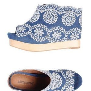 Jeffrey Campbell Denim Embroidered Wedges